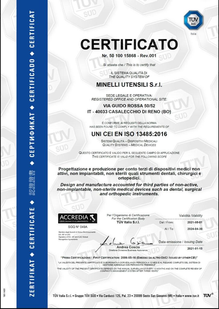 Minelli Utensili - EN ISO 13485